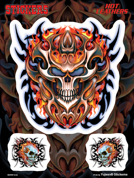 Hot Leathers Flaming Tribal Skull 6x8 Sticker