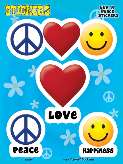 Peace Love and Happiness 6 x 8 Sticker