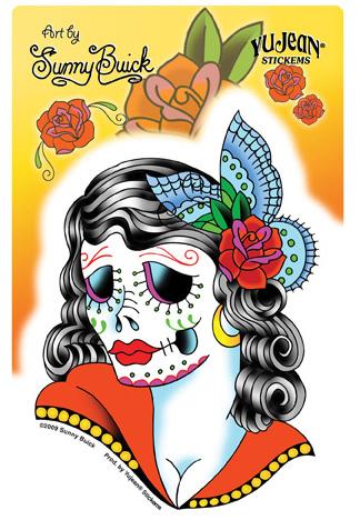Sunny Buick Lady Skull Sticker
