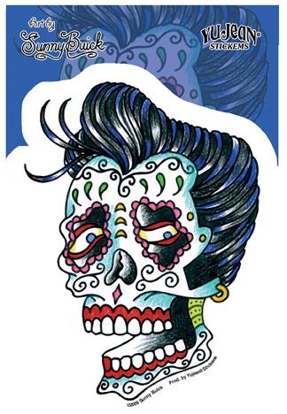 Sunny Buick Rockabilly Skull Sticker