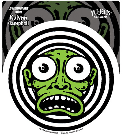 Kalynn Campbell Lowbrow Green Face Sticker