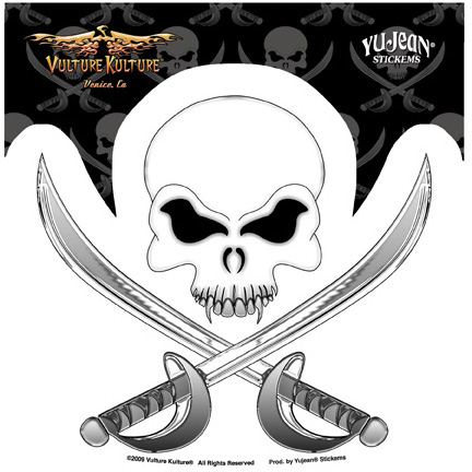 Vulture Kulture Pirate Skull Crossbones Sticker