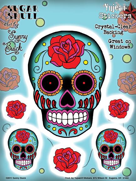 Sunny Buick Rose Sugar Skull 6x8 Sticker Set