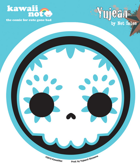 Kawaii Not Blue Sugar Skull Sticker