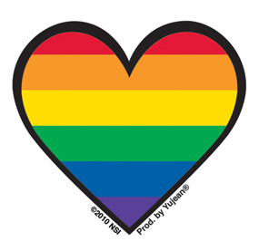 Mini Rainbow Gay Pride Heart Sticker, Packs of 25 | Stickers