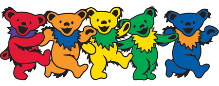 Mini Grateful Dead Dancing Bear Sticker, Assorted. Packs of 25 | Grateful Dead Stickers, Patches, Keychains and More!