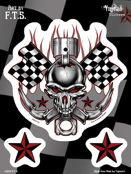 F.T.S Racing Skull 6x8 Sticker | Flags