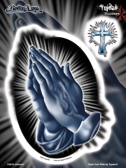 Rollin Low Praying Hands 6x8 Sticker | Latino