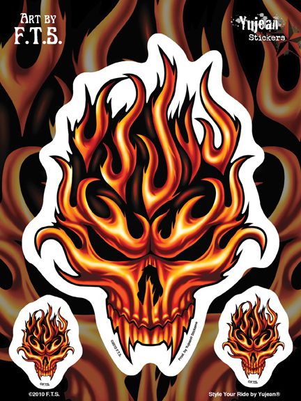 F.T.S Flame Skull 6x8 Sticker | CLEARANCE!!