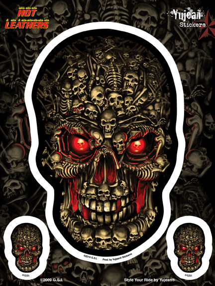 Hot Leathers Boneyard Skull Biker 6x8 Sticker | 6x8