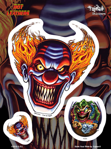 Hot Leathers Evil Clown Biker 6x8 Sticker | Stickers