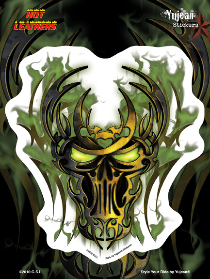 Hot Leathers Green Biker Skull 6x8 Sticker | Biker