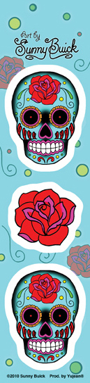 Sunny Buick Mini Rose Skull Strip Sticker | Little Tiny Mini Stickers