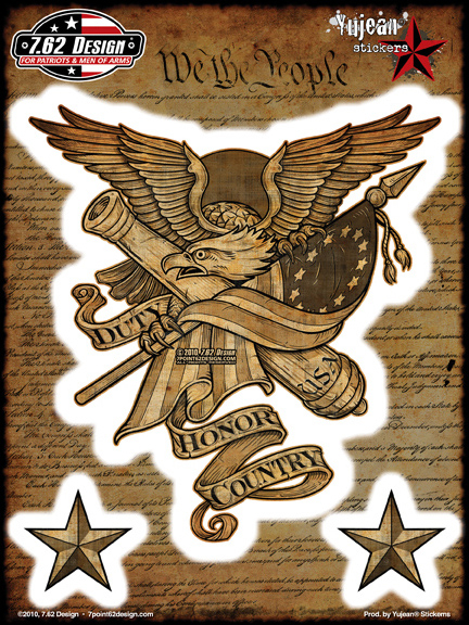 7.62 Design Duty Honor Country 6x8 Sticker | Patriotic