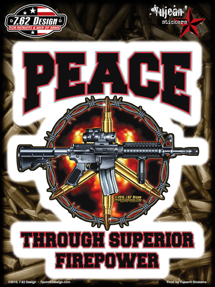 7.62 Design Superior Firepower 6x8 Sticker | Military!!