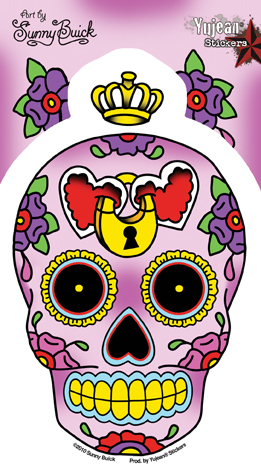 Sunny Buick Heart Lock Sugar Skull Sticker | Stickers