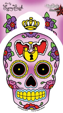 Sunny Buick Heart Lock Sugar Skull Sticker | Stickers