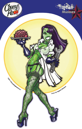 Zombie Brain Pinup Girl Sticker | Window Stickers: Clear Backing, Put Them Anywhere!