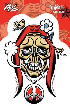 Mitch O'Connell Stoned Skull Sticker | Cannabis