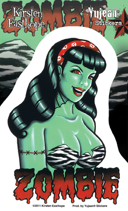 Kirsten Easthope Zombie Pinup Girl Sticker | Window Stickers: Clear Backing, Put Them Anywhere!