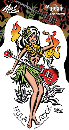 Mitch O'Connell Hula Rock Pinup Girl Sticker | Tropical