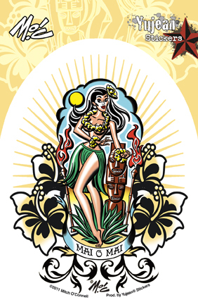 Mitch O'Connell Mai O Mai Hula Girl Sticker | Tropical