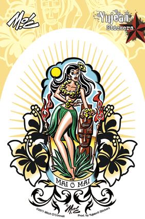 Mitch O'Connell Mai O Mai Hula Girl Sticker | Pinups