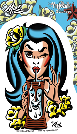 Mitch O'Connell Tiki Time Sticker | Tropical