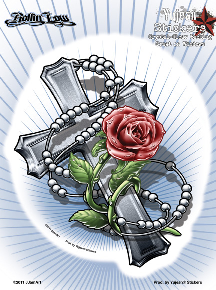 Rollin Low Rosary Cross 6x8 Sticker | Faith-full