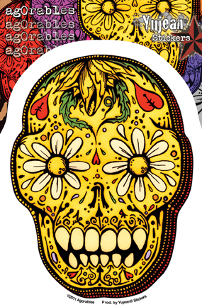Agorables Sugar Skull Sticker | Window Stickers: Clear Backing, Put Them Anywhere!