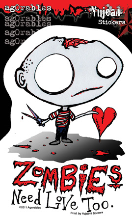 Agorables Zombies Need Love Sticker | Window Stickers: Clear Backing, Put Them Anywhere!