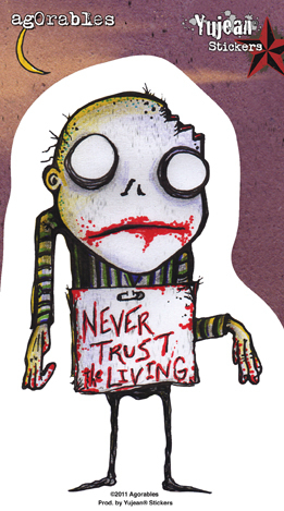 Agorables Never Trust the Living Zombie Sticker | Stickers
