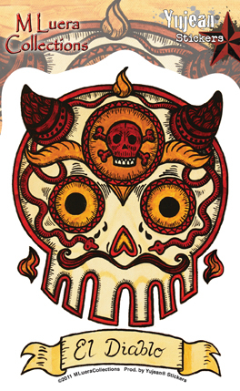 Mluera El Diablo Day of the Dead Skull Sticker | Sugar Skulls