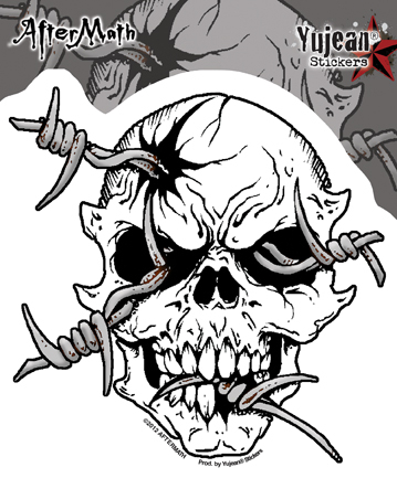 Aftermath Barbwire Skull Sticker | Skulls and Dragons