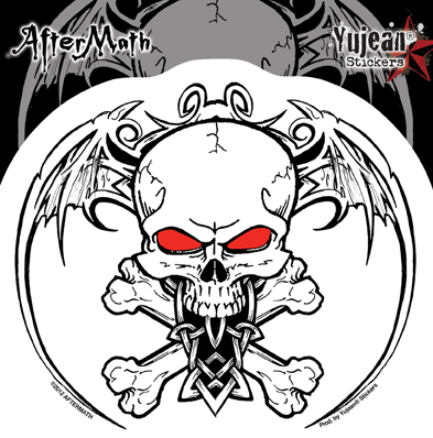 Aftermath Wingskull Sticker | Window Stickers: Clear Backing, Put Them Anywhere!