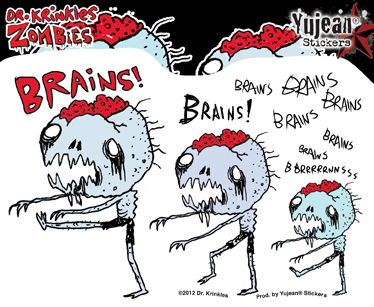 Dr Krinkles Brains, Brains, Brains Zombie Sticker | Window Stickers: Clear Backing, Put Them Anywhere!