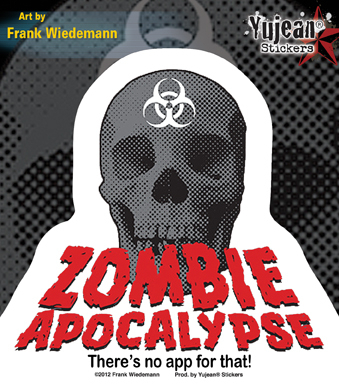 Frank Wiedemann Zombie Apocalypse: No App For That Sticker | ZOMBIE ATTACK!