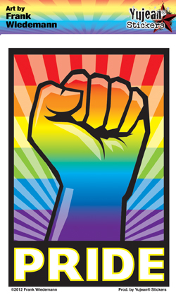 Frank Wiedemann's Rainbow Fist | Window Stickers: Clear Backing, Put Them Anywhere!