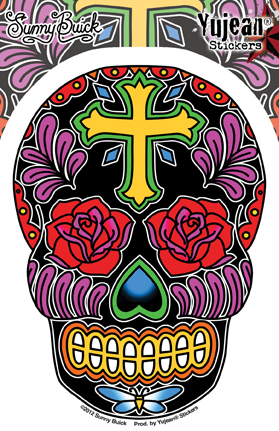 Sunny Buick's Rose Cross Sugar Skull Sticker | Latino