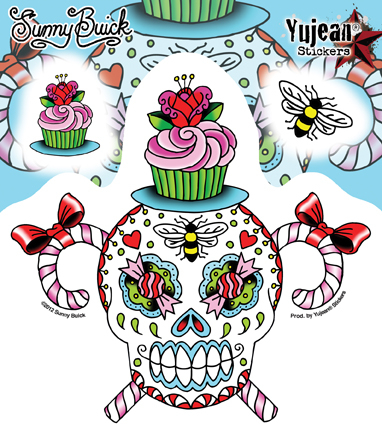 Sunny Buick Sweet & Stinky Sugar Skull Sticker | Stickers