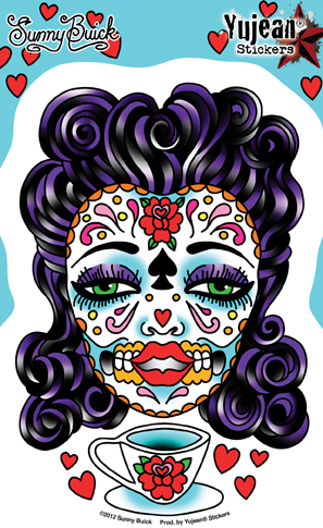 Sunny Buick's Tea Lady Sugar Skull Sticker | Window Stickers: Clear Backing, Put Them Anywhere!
