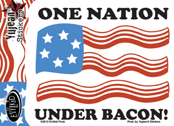 One Nation Under Bacon Sticker | Evilkid
