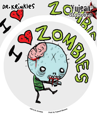 Dr Krinkles I Heart Zombies Sticker | Stickers