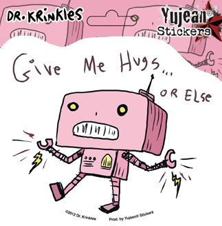 Dr Krinkles Robot Hugs Sticker | Stickers