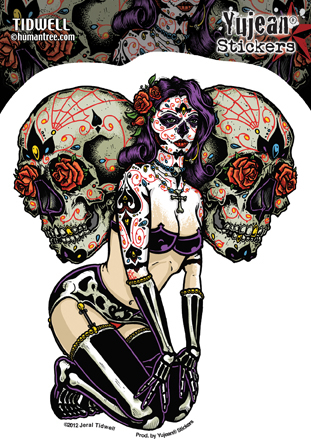 Jeral Tidwell Sugar Skull Pinup Sticker | Tattoo