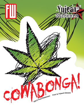 Cowabonga Pot Leaf Sticker | Hippie