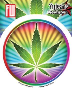 Psychedelic Potleaf Sticker   Cannabis
