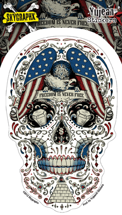 Skygraphx Free for the Dead Patriotic Sugar Skull Sticker | Flags