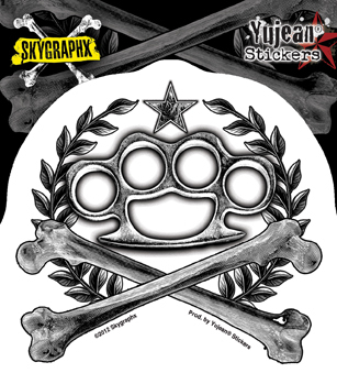 Skygraphx True Brutality Brass Knuckles Sticker | Biker