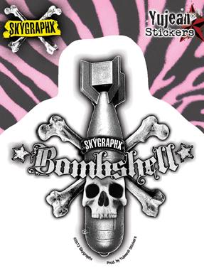 Skygraphx Bombshell Skull Sticker | Biker